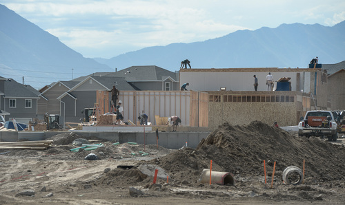 Francisco Kjolseth  |  The Salt Lake Tribune Work began this summer on three high-density housing clusters -- two apartment complexes and a group of townhomes -- in the @geneva development, a 1,700 acre master-planned  development being built by Anderson Development on the site of the old Geneva Steel Mill, at Vineyard in Utah County.