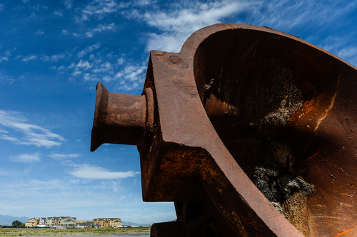 Francisco Kjolseth     The Salt Lake Tribune A gigantic foundry ladle from the old Geneva Steel Mill stands at the Center Street entrance to @geneva, a new development in Vineyard, Utah. The huge rusting relic recalls of themill site's historic legacy as a major steel producer for six decades.