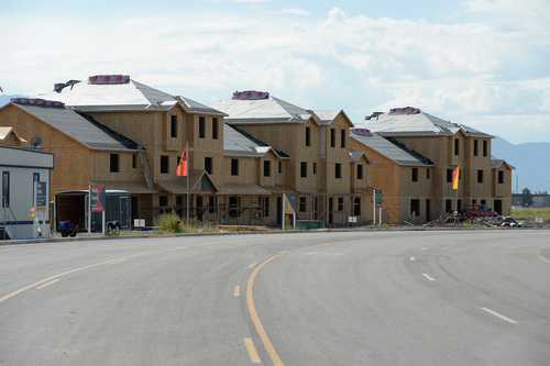 Francisco Kjolseth  |  The Salt Lake Tribune Work began this summer on three high-density housing clusters in the @geneva development, a 1,700 acre master-planned  project being built on the site of the old Geneva Steel Mill, at Vineyard in Utah County.