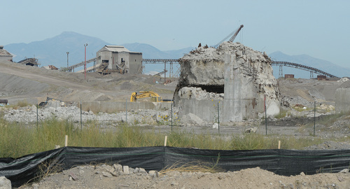 Francisco Kjolseth  |  The Salt Lake Tribune One of the biggest challenges in cleaning up the old Geneva Steel Mill site for future development in the @geneva project has been removing extensive concrete remnants on the 1,700-acre site. Crews have already dug out  700,000 cubic yards, representing only about 30 percent of the total.