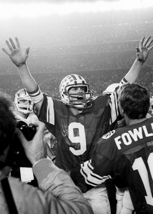photo courtesy Mark Philbrick/BYU  Jim McMahon celebrates at the Holiday Bowl in this photo from Dec., 1980.