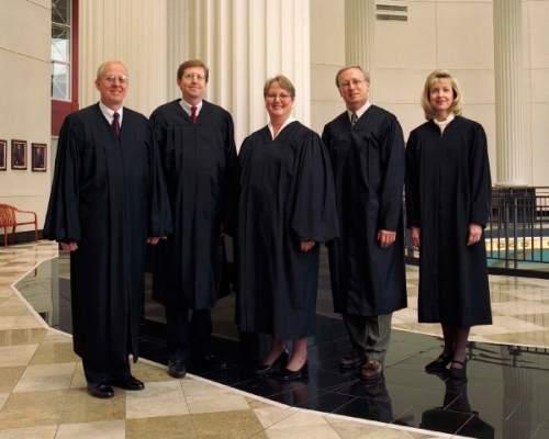 "Utah State Supreme Court justices 2003 (l-r) Michael J. Wilkins, Matthew B. Durrant, Christine M. Durham, Ronald E. Nehring, Jill N. Parrish Publishing the photograph requires a byline caption ""©2003 Kent Miles"""