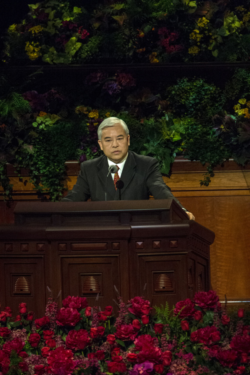Chris Detrick  |  The Salt Lake Tribune Chi Hong (Sam) Wong, of the First Quorum of the Seventy, speaks in Cantonese during the morning session of the 184th Semiannual General Conference of The Church of Jesus Christ of Latter-day Saints at the Conference Center in Salt Lake City Saturday October 4, 2014.