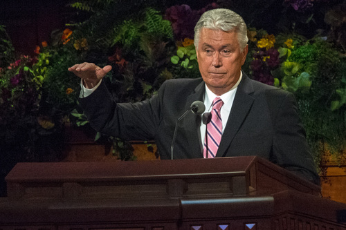 Chris Detrick  |  The Salt Lake Tribune President Dieter F. Uchtdorf, second counselor in the First Presidency, speaks during the morning session of the 184th Semiannual General Conference of The Church of Jesus Christ of Latter-day Saints at the Conference Center in Salt Lake City Saturday October 4, 2014.