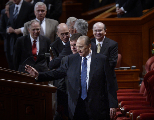 Scott Sommerdorf  |  The Salt Lake Tribune President Thomas S. Monson waves as he leaves at the end of the morning session of the 184th Semiannual General Conference of The Church of Jesus Christ of Latter-day Saints, Sunday, October 5, 2014.