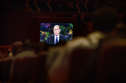 Scott Sommerdorf  |  The Salt Lake Tribune A televised image of the 184th Semiannual General Conference of The Church of Jesus Christ of Latter-day Saints, Sunday, October 5, 2014.