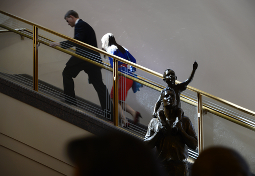 Scott Sommerdorf  |  The Salt Lake Tribune People climb the stairs to go to their seats for the afternoon session of the 184th Semiannual General Conference of The Church of Jesus Christ of Latter-day Saints, Sunday, October 5, 2014.