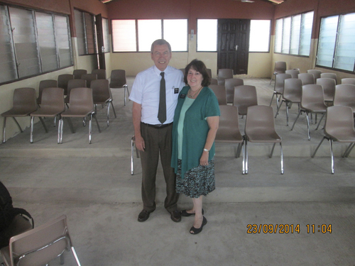 (Courtesy photo)  Norman and Raelene Hill in an LDS chapel in Ghana in September 2014.