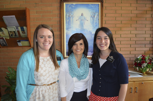 (Courtesy photo)  Rebecca Craven of the LDS North Carolina Charlotte Mission with sister missionaries, Sister Webber (l) and Sister Jamison (r).