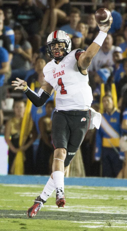 Rick Egan     The Salt Lake Tribune  Utah quarterback Kendal Thompson (1) throws or the Utes, as they face UCLA, at the Rose Bowl in Pasadena, Saturday, October 4, 2014