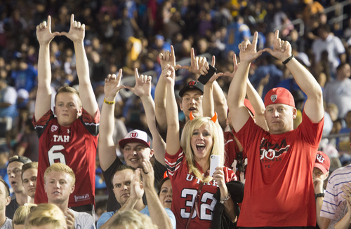 Rick Egan  |  The Salt Lake Tribune  Ute fans cheer on their team as they head to the locker room with a 17-7 half-time lead over UCLA, at the Rose Bowl in Pasadena, Saturday, October 4, 2014