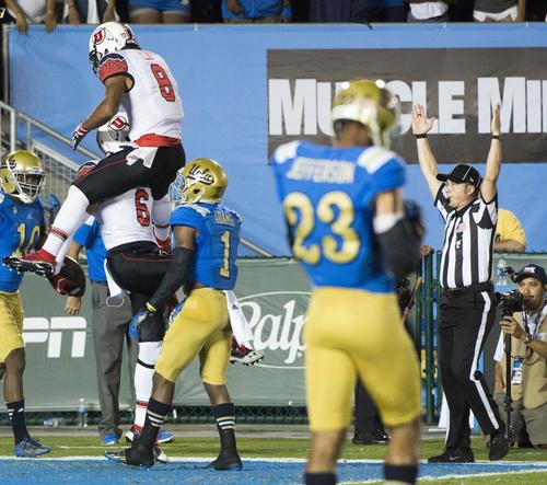 Rick Egan     The Salt Lake Tribune   Utah's Kaelin Clay (8) celebrates Utah Utes wide receiver Dres Anderson (6) touchdown, at the Rose Bowl in Pasadena, Saturday, October 4, 2014