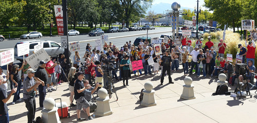 Leah Hogsten  |  The Salt Lake Tribune Over a dozen families whose families have been killed or shot by police filled the crowd at the Families Speak Out On Police Violence rally on Saturday at the Matheson Courthouse.