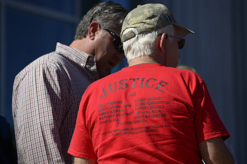 Leah Hogsten  |  The Salt Lake Tribune The shirt worn by Mike Stewart, father of Matthew David Stewart, at the Families Speak Out On Police Violence rally Saturday, October 4, 2014, at the Matheson Courthouse.