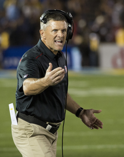 Rick Egan  |  The Salt Lake Tribune  Utah Utes head coach Kyle Whittingham pleads with the officials after they rule that a roughing-the-kicker penalty will give UCLA a second chance to win the game, with no time remaining, at the Rose Bowl in Pasadena, Saturday, October 4, 2014