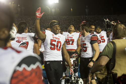 Rick Egan  |  The Salt Lake Tribune  The Utes celebrate their 30-28 upset over UCLA in Pac-12 action at the Rose Bowl, Saturday, October 4, 2014