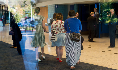 Trent Nelson  |  The Salt Lake Tribune Women enter BYU's Marriott Center for a broadcast of the LDS General Conference priesthood session in Provo Saturday October 4, 2014. The event was one of several planned by Ordain Women.