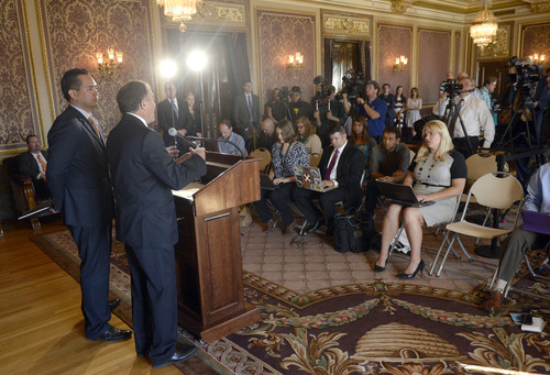 Al Hartmann  |  The Salt Lake Tribune Utah Governor Gary Herbert and Utah Attorney General Sean Reyes speak at a press conference at the state Capitol Monday October 6, 2014, regarding the U.S. Supreme Court's decision not to hear the state's argument in its defense of marriage law, which now opens the door for same-sex marriage in the state of Utah.