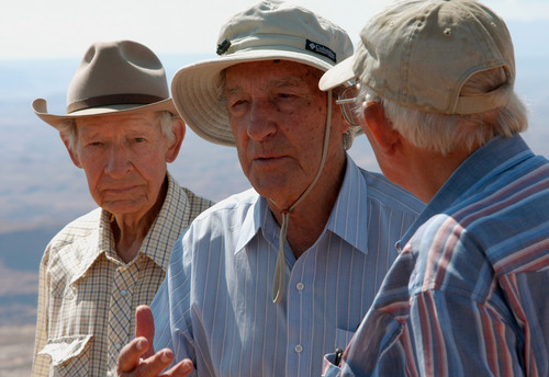 (Courtesy  |  Neal Herbert, Canyonlands National Park) Kent Frost, left, led tourists on tours into the land that would become Canyonlands National Park long before its designation. He was vital in sharing the wonders of the landscape as designation was pursued. Stewart Udall, middle, was the secretary of Interior who took Canyonlands on as a special effort and saw it come to fruition. Ken Sleight, right, was also helpful in helping people see what should be protected.