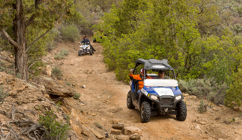Trent Nelson  |  The Salt Lake Tribune San Juan County Commissioner Phil Lyman drives through Recapture Canyon, which has been closed to motorized use since 2007. Saturday May 10, 2014 north of Blanding.  Lyman is among five Utahns charged Wednesday with conspiracy in connection with a May 10 ATV ride into Recapture Canyon protesting federal oversight of public land. The BLM had closed this canyon outside Blanding to protect its archaeological resources from motorized use. About 50 people rode into the canyon that day, but only those suspected of organizing or promoting the event were charged.