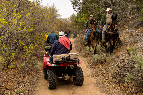 Trent Nelson  |  The Salt Lake Tribune Mounted law enforcement officers move off the trail as motorized vehicles make their way through Recapture Canyon, which has been closed to motorized use since 2007. San Juan County Commissioner Phil Lyman is among five Utahns charged Wednesday with conspiracy in connection with a May 10 ATV ride into Recapture Canyon protesting federal oversight of public land. The BLM had closed this canyon outside Blanding to protect its archaeological resources from motorized use. About 50 people rode into the canyon that day, but only those suspected of organizing or promoting the event were charged.
