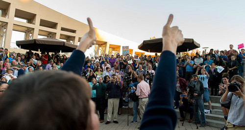 Trent Nelson  |  The Salt Lake Tribune Kitchen v. Herbert plaintiff Kody Partridge gives two thumbs up during a rally to celebrate today's legalization of same-sex marriage, Monday October 6, 2014 in Salt Lake City.