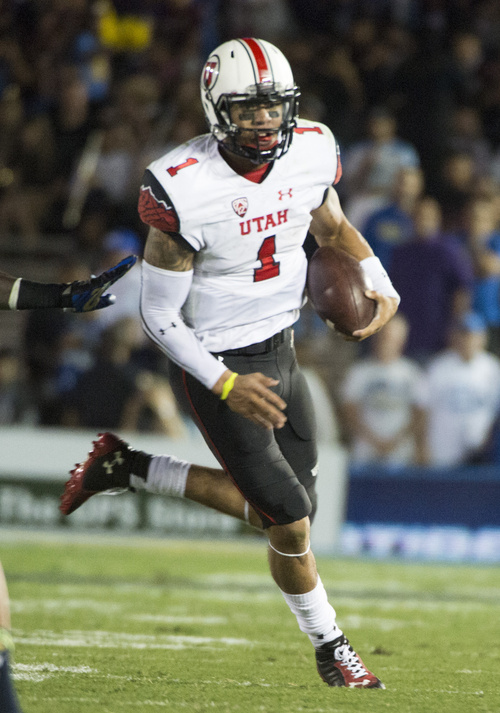 Rick Egan  |  The Salt Lake Tribune  Utah Utes quarterback Kendal Thompson (1) in Pac-12 action at the Rose Bowl in Pasadena, Saturday, October 4, 2014