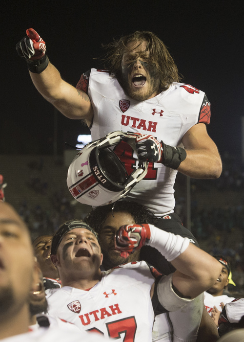 Rick Egan  |  The Salt Lake Tribune  Utah linebacker Jared Norris (41) and the Utes celebrate their 30-28 upset over UCLA in Pac-12 action at the Rose Bowl, Saturday, October 4, 2014