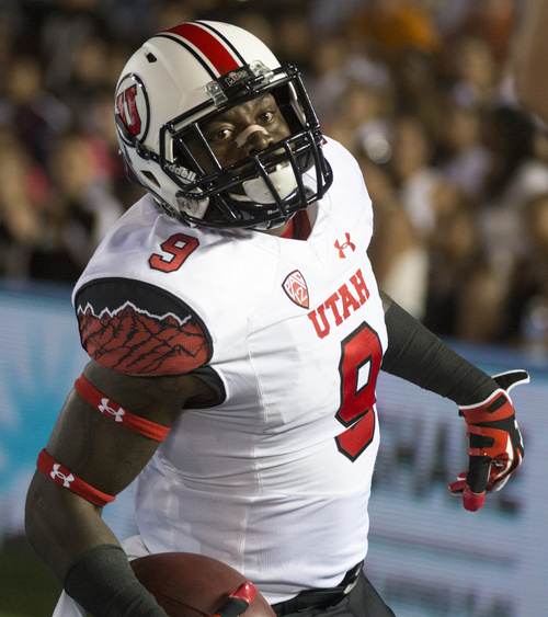 Rick Egan  |  The Salt Lake Tribune   Ute defensive back Tevin Carter (9) intercepts a UCLA pass and runs for a touchdown, as the Utah Utes  vs. UCLA Bruins, at the Rose Bowl in Pasadena, Saturday, October 4, 2014