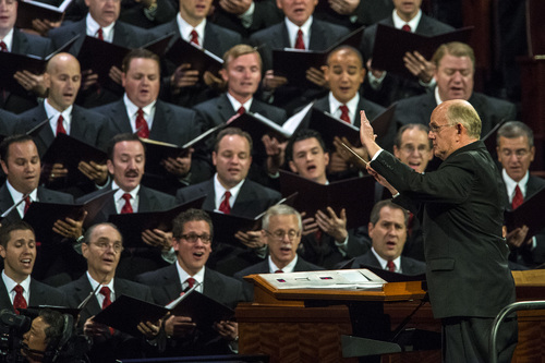 Chris Detrick  |  The Salt Lake Tribune Mack Wilberg conducts members of the Mormon Tabernacle Choir as they perform during the morning session of the 184th Semiannual General Conference of The Church of Jesus Christ of Latter-day Saints at the Conference Center in Salt Lake City Saturday October 4, 2014.