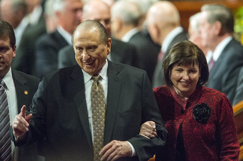 Chris Detrick  |  The Salt Lake Tribune LDS President Thomas S. Monson leaves with his daughter Ann M. Dibb during the morning session of the 184th Semiannual General Conference of The Church of Jesus Christ of Latter-day Saints at the Conference Center in Salt Lake City Saturday October 4, 2014.