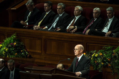 Chris Detrick  |  The Salt Lake Tribune Henry B. Eyring speaks during the afternoon session of the 184th Semiannual General Conference of The Church of Jesus Christ of Latter-day Saints at the Conference Center in Salt Lake City Saturday October 4, 2014.