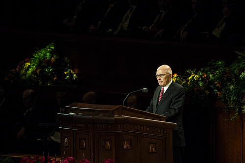 Chris Detrick  |  The Salt Lake Tribune Dallin H. Oaks, Quorum of the Twelve Apostles, speaks during the afternoon session of the 184th Semiannual General Conference of The Church of Jesus Christ of Latter-day Saints at the Conference Center in Salt Lake City Saturday October 4, 2014.