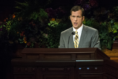 Chris Detrick  |  The Salt Lake Tribune Jörg Klebingat, of the Seventy, speaks during the afternoon session of the 184th Semiannual General Conference of The Church of Jesus Christ of Latter-day Saints at the Conference Center in Salt Lake City Saturday October 4, 2014.