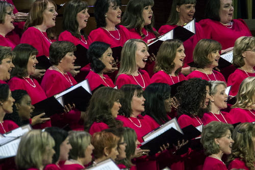 Chris Detrick  |  The Salt Lake Tribune Members of the Mormon Tabernacle Choir perform during the morning session of the 184th Semiannual General Conference of The Church of Jesus Christ of Latter-day Saints at the Conference Center in Salt Lake City Saturday October 4, 2014.