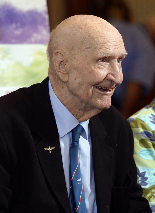 Al Hartmann  |  The Salt Lake Tribune  Gail Halvorsen, who became known as the Candy Bomber  for dropping candy to children during the Berlin Airlift, is turning 94 years old. Here he is photographed during a media availability to promote the movie Meet the Mormons on Tuesday, Oct. 7, 2014.