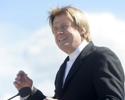 """Al Hartmann     The Salt Lake Tribune Overstock.com CEO Patrick Byrne speaks to employees for the company's ground breaking of a $100 million campus that it is calling the """"Peace Coliseum,"""" which will cover 230,793 square feet. It will look like a peace sign from overhead and the Roman Colosseum from the ground.  The parcel is on the northwest corner of the property at 7200 S. 900 West"""