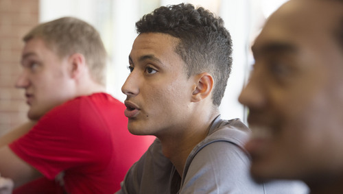 Steve Griffin  |  The Salt Lake Tribune  Red shirt freshman Kyle Kuzma talks with reporters during media day at the Huntsman Center on the University of Utah campus in Salt Lake City, Monday, October 6, 2014.