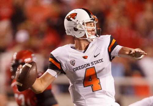 Trent Nelson  |  The Salt Lake Tribune Oregon State Beavers quarterback Sean Mannion (4) passes the ball as the University of Utah hosts Oregon State, college football at Rice Eccles Stadium Saturday, September 14, 2013 in Salt Lake City.