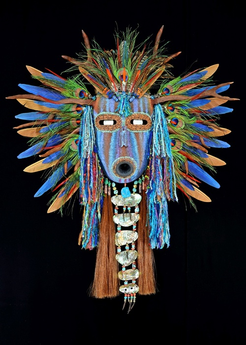 "This Native American mask by Black Eagle, a member of the Shoshone/Yokut tribe, will be on display at the Indian Art Market at the Natural History Museum Oct. 18-19. Black Eagle won the ""Best of Show"" award at last year's market. Courtesy Natural History Museum"
