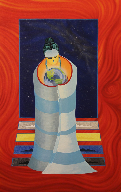 "Utah artist, Gilmore Scott, uses bold colors in his paintings, like this acrylic on canvas called ""Our Mother"" No.8. It is one of several pieces he will bring the Indian Art Market at the Natural History Museum on Oct. 18-19. Courtesy Gilmore Scott"