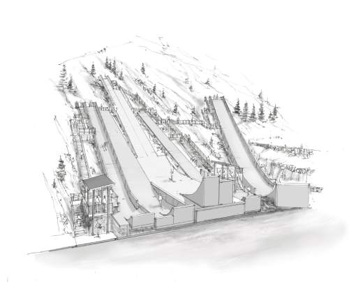 Illustration  |  Courtesy Utah Olympic Legacy Foundation  This artist's rendition shows the expanded array of jumping ramps that will be constructed over the winter and spring at Utah Olympic Park to better accommodate the growing list of sports disciplines on the Winter Games' schedule, events such as slopestyle for skiers and snowboarders.