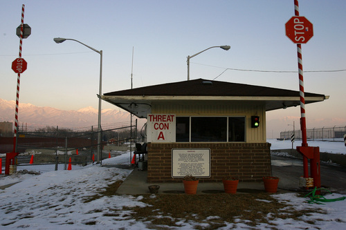 """Bluffdale, UT--1/25/07--5:10:25 PM-- The front guard station at Camp Williams. ***************** The Utah National Guard has cut it's civilian security staff by a third, leaving it """"less than capable"""" of responding to problems, former guards say. Utah guard officials say they had to make the cuts because money that once went to homeland security is now going to Iraq   Chris Detrick/Salt Lake Tribune File #_1CD6610    `"""