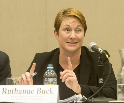 Rick Egan  |  The Salt Lake Tribune  Ruthanne Buck comments during a panel discussion at the UEA convention at the South Towne Expo Center, Thursday, October 16, 2014