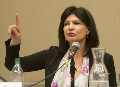 Rick Egan  |  The Salt Lake Tribune  Lily Eskelsen Garcia comments during a panel discussion at the UEA convention at the South Towne Expo Center, Thursday, October 16, 2014