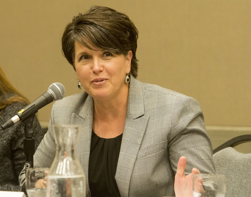 Rick Egan  |  The Salt Lake Tribune  Tami Pyfer comments during a panel discussion at the UEA convention at the South Towne Expo Center, Thursday, October 16, 2014