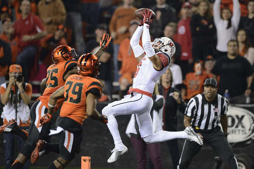 Utah wide receiver Dres Anderson (6) catches a pass in the end zone during the first quarter against Oregon State in an NCAA college football game in Corvallis, Ore., Thursday, Oct. 16, 2014. The pass was ruled incomplete after Anderson had the ball knocked out of his hands. (AP Photo/Troy Wayrynen)