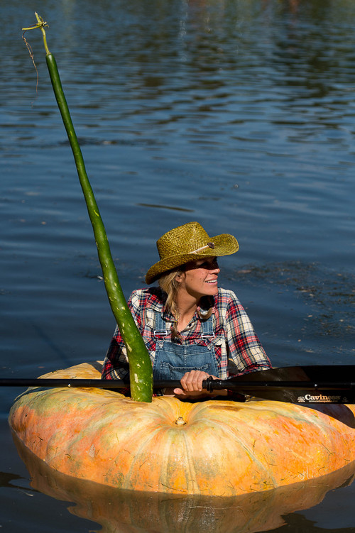 Trent Nelson  |  The Salt Lake Tribune Chalise Smith at the 4th Annual Ginormous Pumpkin Regatta in Sugar House Park, Salt Lake City, Saturday October 18, 2014.