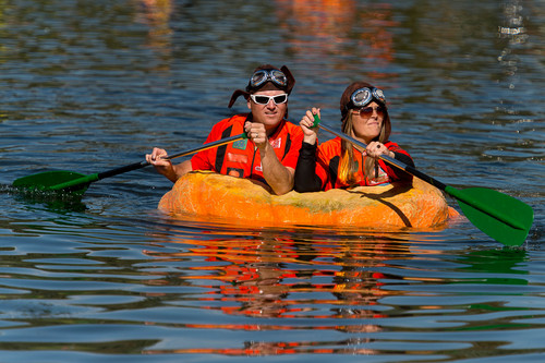 Trent Nelson  |  The Salt Lake Tribune Chad Black and Carrie Fox at the 4th Annual Ginormous Pumpkin Regatta in Sugar House Park, Salt Lake City, Saturday October 18, 2014.