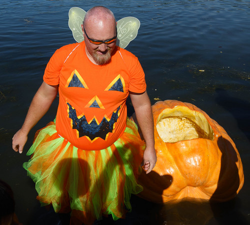 Trent Nelson  |  The Salt Lake Tribune Pumpkin fairy Toby Peterson at the 4th Annual Ginormous Pumpkin Regatta in Sugar House Park, Salt Lake City, Saturday October 18, 2014.
